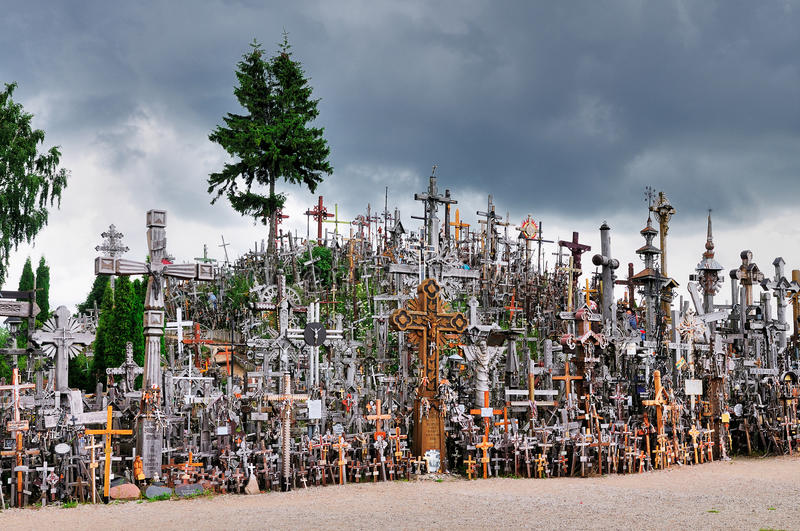 Hill of the Crosses, Lithuania stock photo