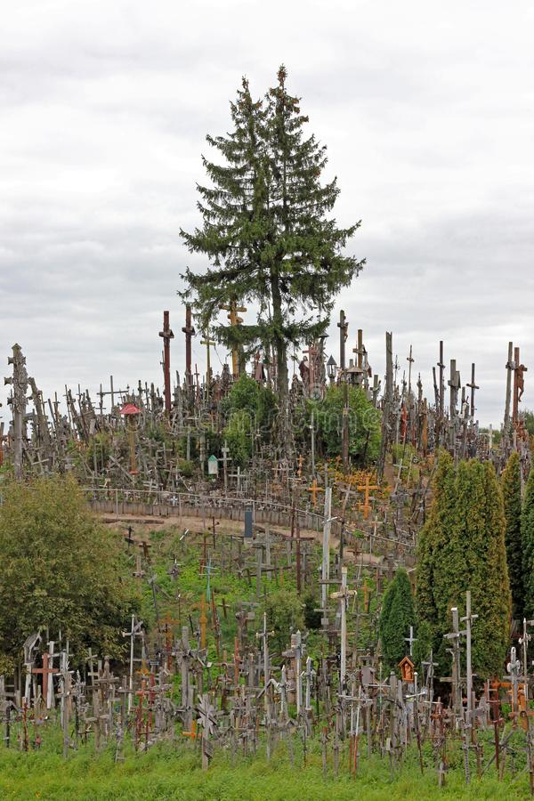The hill of crosses in Lithuania royalty free stock photos