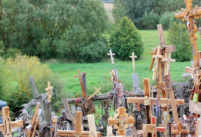 The hill of crosses in Lithuania stock photos
