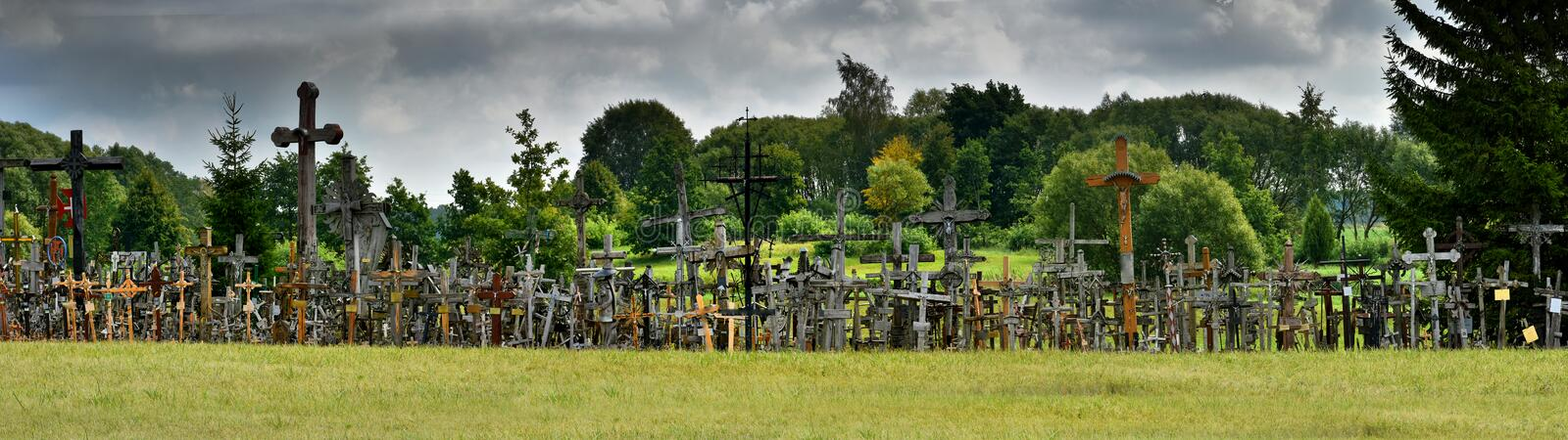 Hill of crosses in Siauliai, Lithuania royalty free stock photo