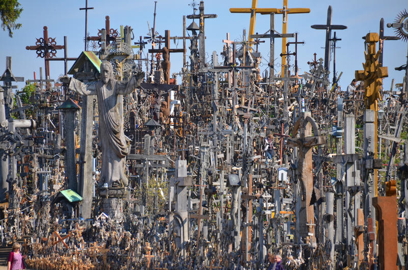 Hill of crosses. SIAULIAI, LITHUANIA SEPTEMBER 15 2015: View of hill of crosses with over four hundred thousand crosses and crucifix, which is thought tradition royalty free stock image