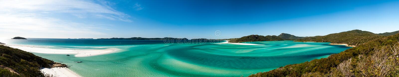 Hill Inlet from lookout at Tongue Point on Whitsunday Island. Swirling white sands and blue green water make spectacular patterns stock photography