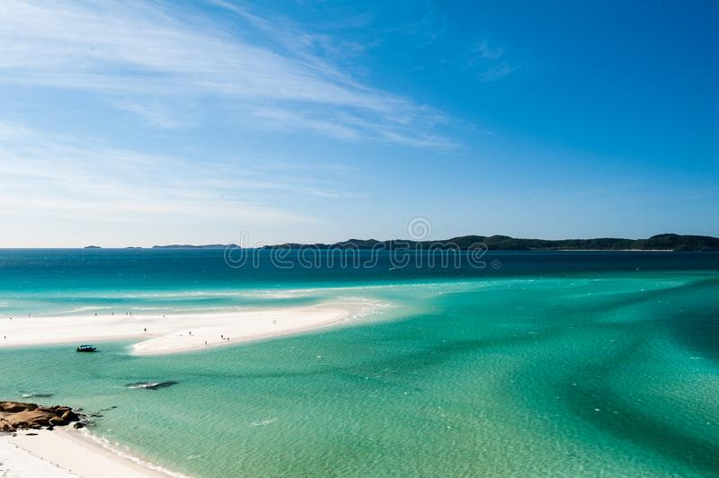 Hill Inlet from lookout at Tongue Point on Whitsunday Island - swirling white sands. And blue green water make spectacular patterns stock photography