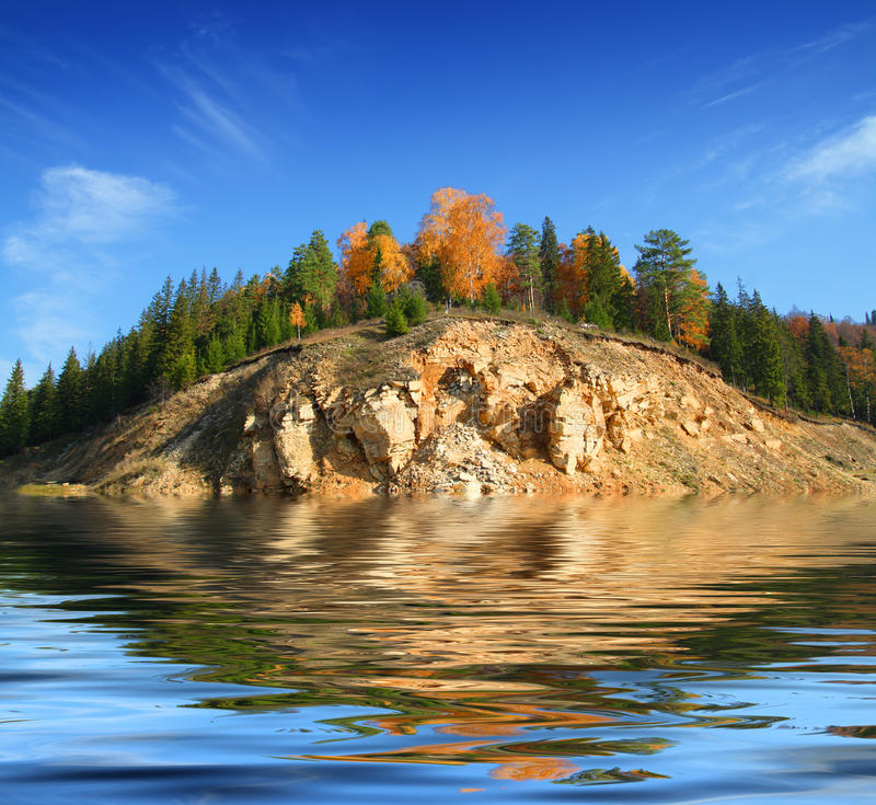 Download Hill in lake stock image. Image of forest, woods, autumn - 10463369