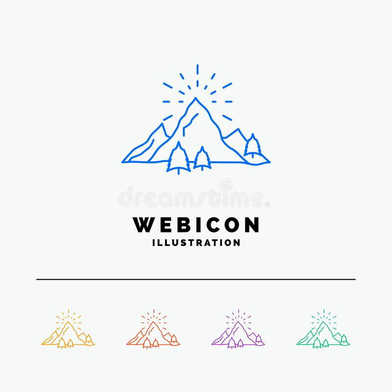 Hill, landscape, nature, mountain, fireworks 5 Color Line Web Icon Template isolated on white. Vector illustration. Vector EPS10 Abstract Template background vector illustration