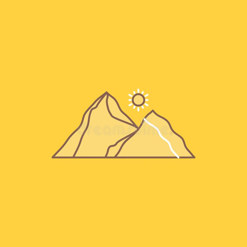 Hill, landscape, nature, mountain, scene Flat Line Filled Icon. Beautiful Logo button over yellow background for UI and UX,. Website or mobile application stock illustration