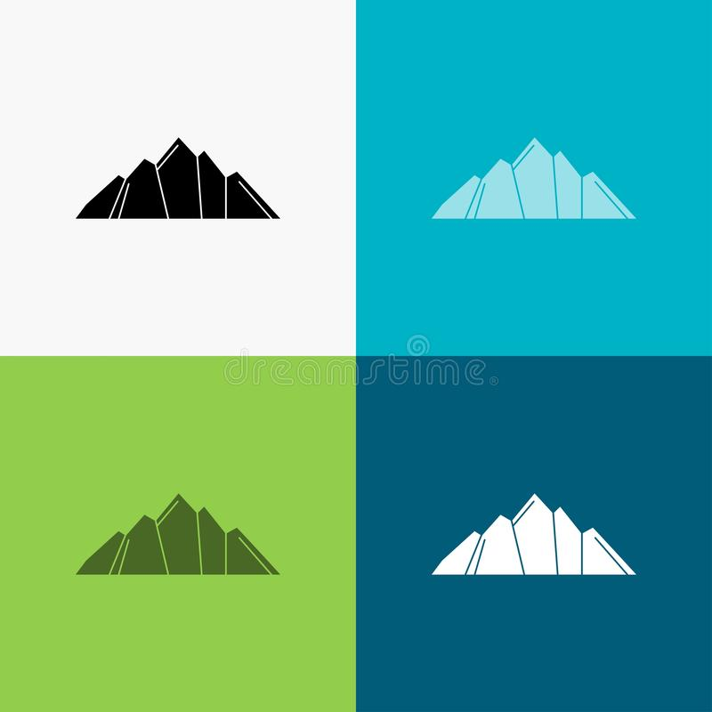 Hill, landscape, nature, mountain, scene Icon Over Various Background. glyph style design, designed for web and app. Eps 10 vector. Illustration. Vector EPS10 vector illustration