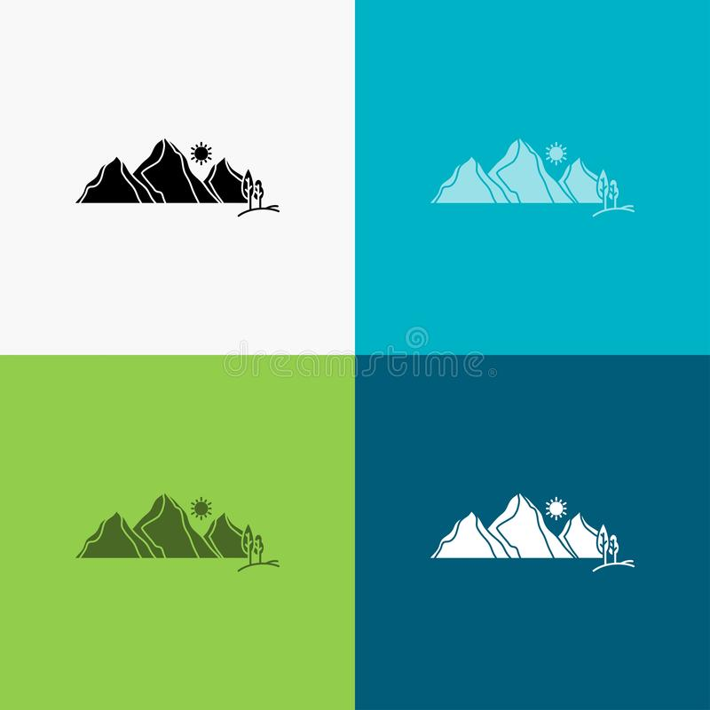 Hill, landscape, nature, mountain, scene Icon Over Various Background. glyph style design, designed for web and app. Eps 10 vector. Illustration. Vector EPS10 royalty free illustration