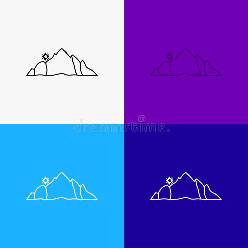 Hill, landscape, nature, mountain, scene Icon Over Various Background. Line style design, designed for web and app. Eps 10 vector. Illustration. Vector EPS10 vector illustration