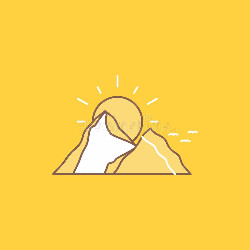 Hill, landscape, nature, mountain, sun Flat Line Filled Icon. Beautiful Logo button over yellow background for UI and UX, website. Or mobile application. Vector royalty free illustration
