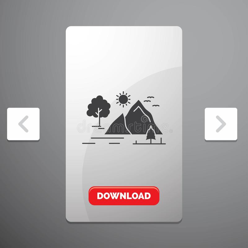 Hill, landscape, nature, mountain, sun Glyph Icon in Carousal Pagination Slider Design & Red Download Button. Vector EPS10 Abstract Template background vector illustration