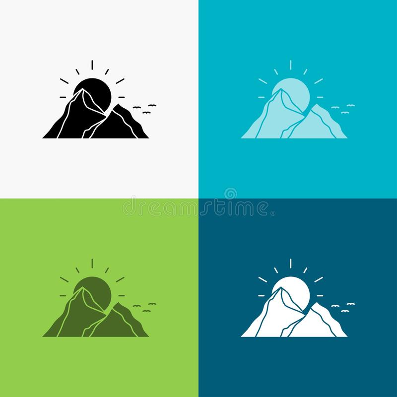 Hill, landscape, nature, mountain, sun Icon Over Various Background. glyph style design, designed for web and app. Eps 10 vector. Illustration. Vector EPS10 stock illustration