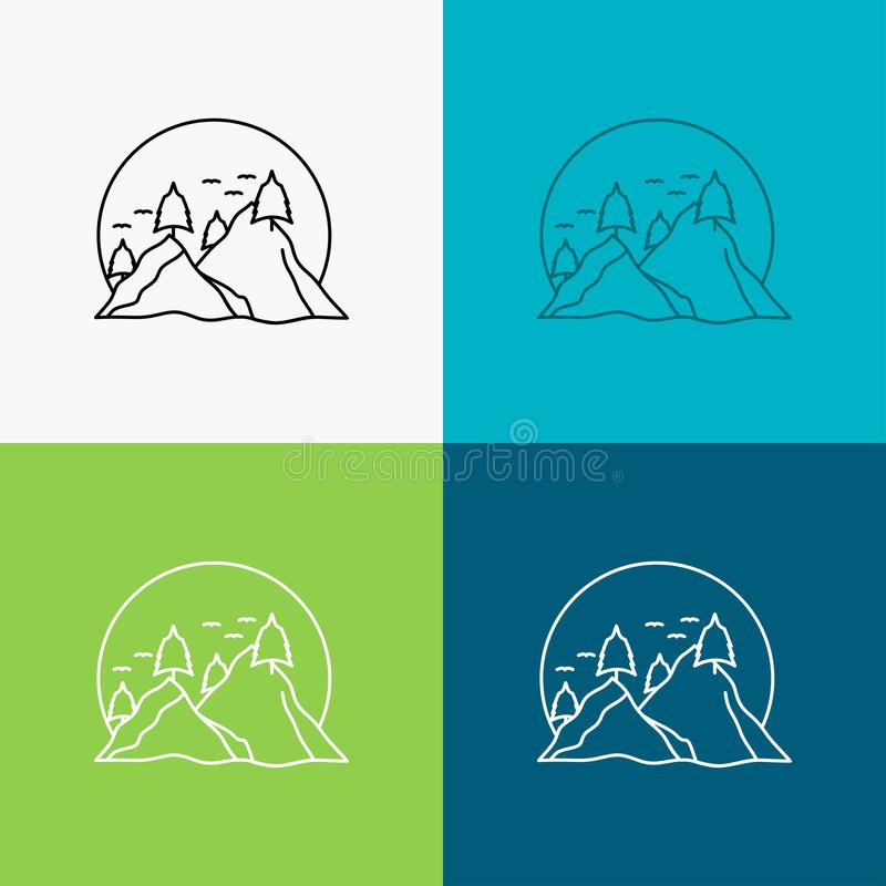 Hill, landscape, nature, mountain, sun Icon Over Various Background. Line style design, designed for web and app. Eps 10 vector. Illustration. Vector EPS10 vector illustration