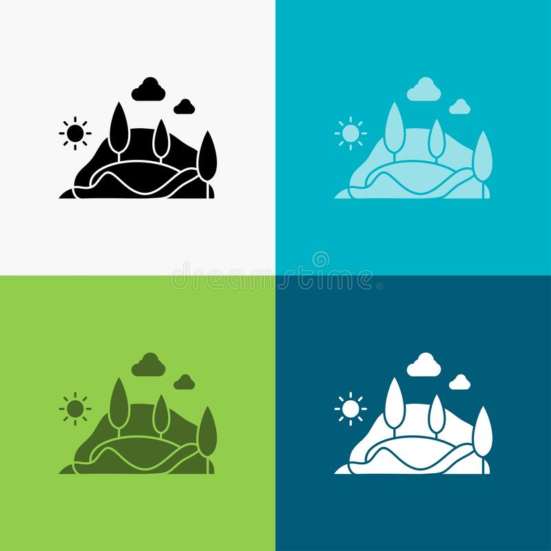 Hill, landscape, nature, mountain, tree Icon Over Various Background. glyph style design, designed for web and app. Eps 10 vector. Illustration. Vector EPS10 stock illustration
