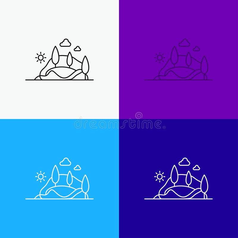 Hill, landscape, nature, mountain, tree Icon Over Various Background. Line style design, designed for web and app. Eps 10 vector. Illustration. Vector EPS10 stock illustration