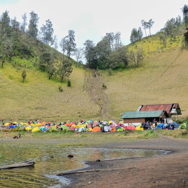 Hill love in mount semeru. Hill love is the best place to stay if you want to camping. You can see view of the lake ranukumbolo stock photos