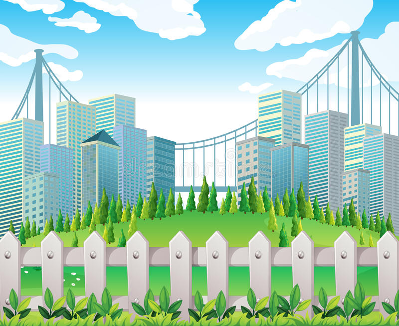 Download A Hill With Many Pine Trees Near The Tall Buildings Stock Vector - Image: 33449364