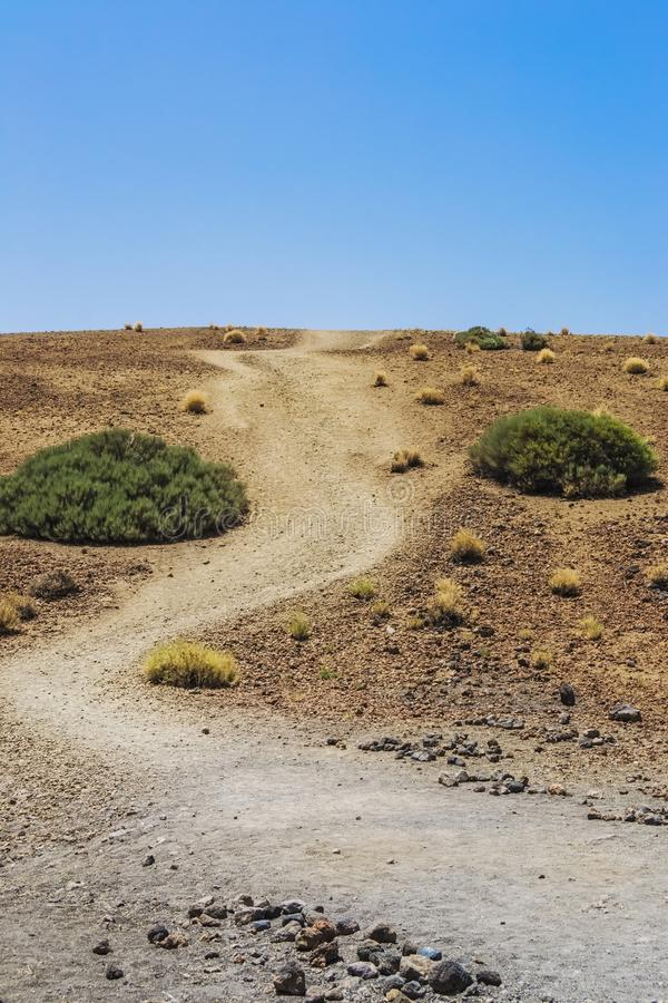 Hill in the middle of the desert. a great upward inclination. Hill in the middle of the desert near to teide volcano, a great upward inclination royalty free stock photo