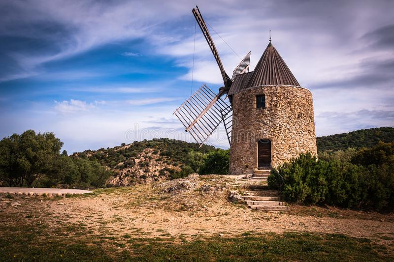 Saint Roch Mill, france, Grimaud royalty free stock images