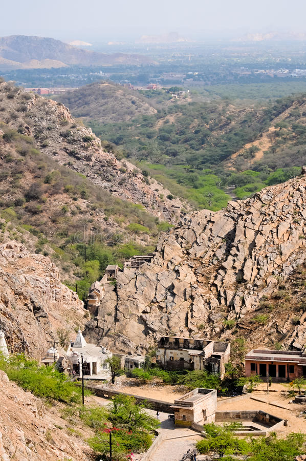 Hill side view near the Hanuman Temple in Jaipur royalty free stock photos