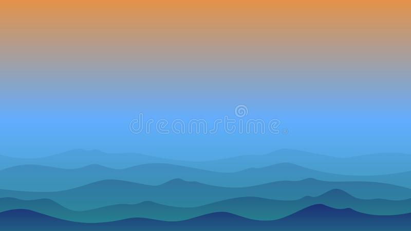 Hill silhouette landscape in afternoon vector illustration