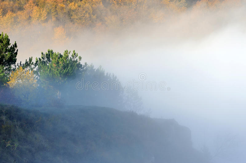 Hill in the sunrise misty fog and clouds stock photo