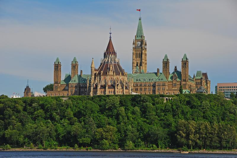 Magnificent Centre Block building complex on Parliament Hill from across the Ottawa River from Gatineau on a fine day royalty free stock images