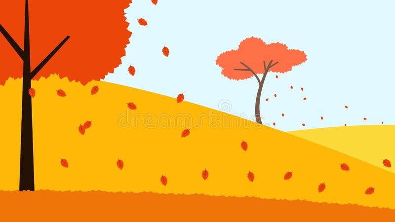 Hill trees fall leaves fall autumn illustration. Element of color autumn vector background royalty free illustration