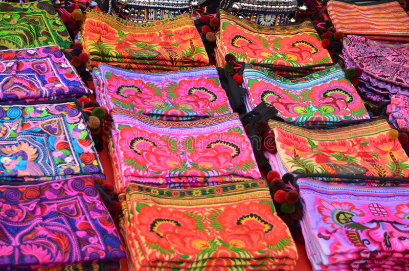 Hill tribe bags. Colorful and woderful hill tribe bags stock photos