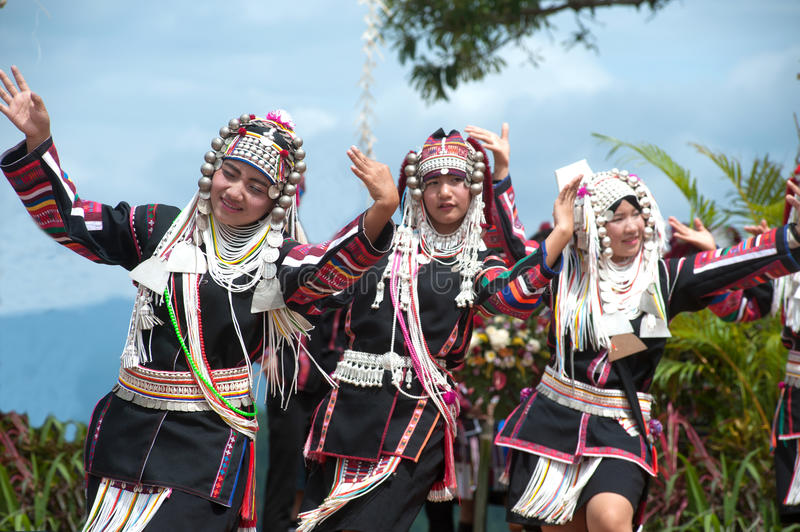 Hill tribe dancing in Akha Swing Festival. CHIANG RAI,THAILAND-AUGUST 30,2015: The Akha Hill tribe minority traditional dancing on Swing Festival is enjoy music stock image