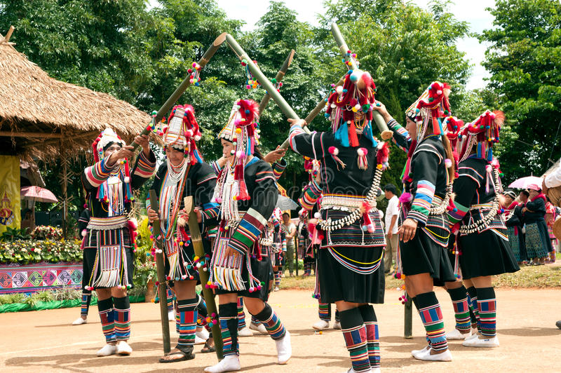 Hill tribe dancing in Akha Swing Festival. royalty free stock photography