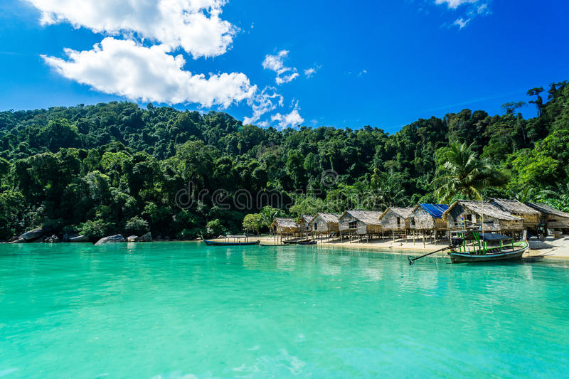 Hill tribe village With beautiful sea views. Thailand Attractions stock photos