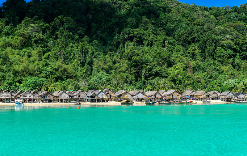 Hill tribe village With beautiful sea views. Thailand Attractions stock images