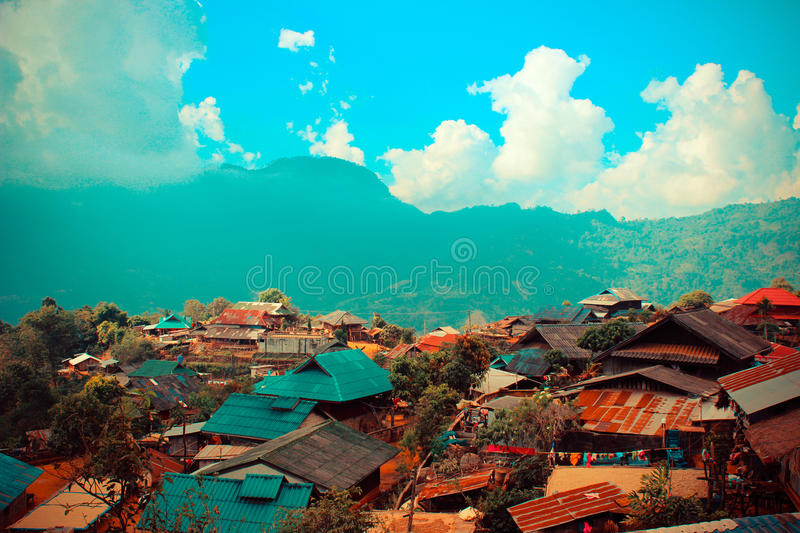 Hill tribe Village in Thailand. And Doi Chang Mountain in Chiang Rai, Thailand royalty free stock image