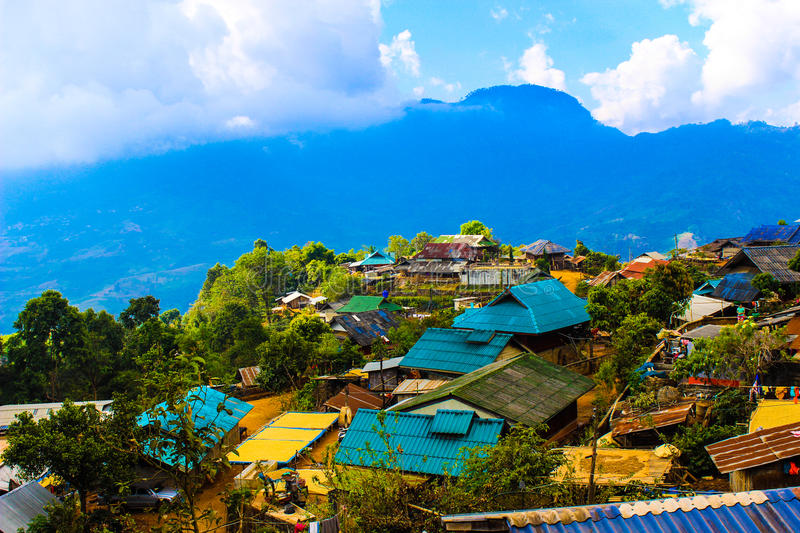 Hill tribe village. In a valley at Chiangrai, Thailand stock image