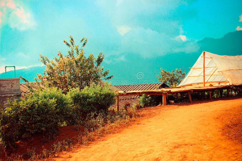 Hill tribe village. In a valley at Chiangrai, Thailand stock photography