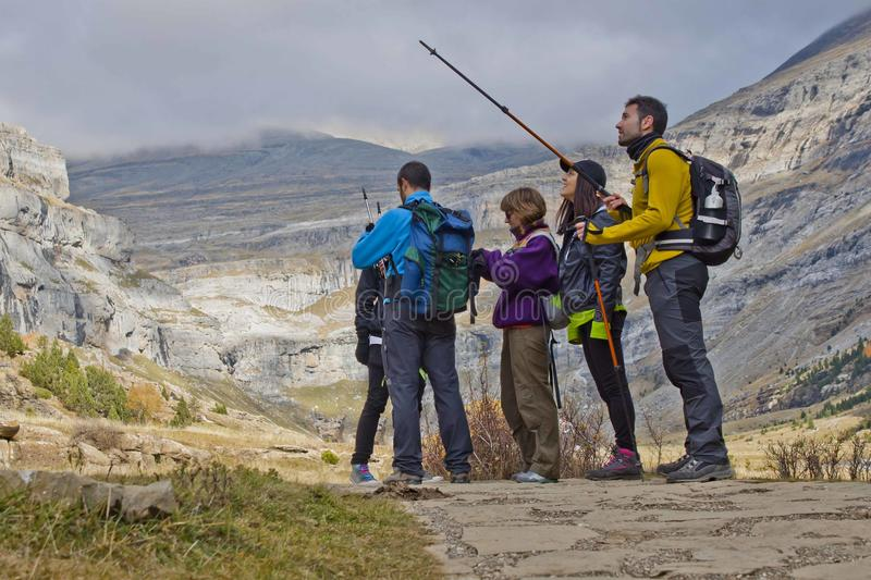 Hill walkers in the mountains. Ordesa, Huesca, Spain stock image