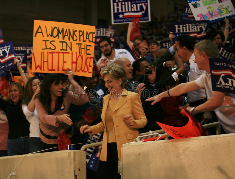 Hillary arrives at Dallas Rally stock images