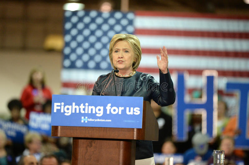 Hillary Clinton Campaigns in St. Louis, Missouri, USA royalty free stock image
