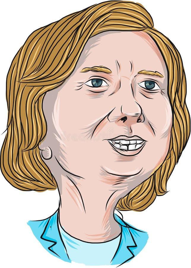 Hillary Clinton Caricature stock de ilustración