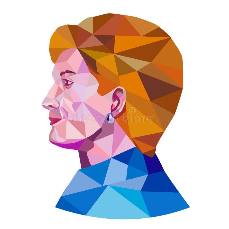 Hillary Clinton depresji wielobok ilustracja wektor