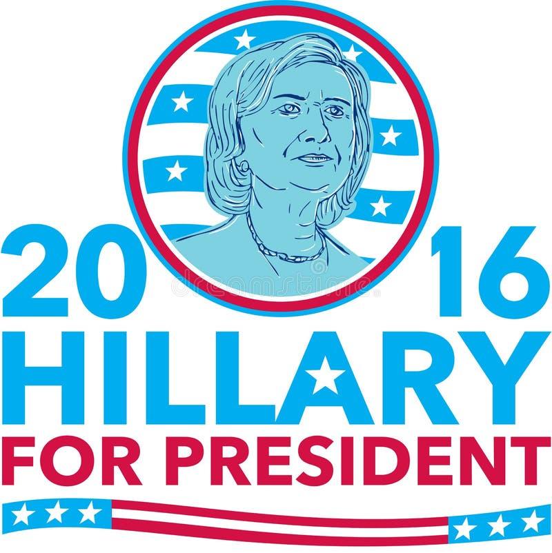 Hillary Clinton dla prezydenta 2016 ilustracja wektor