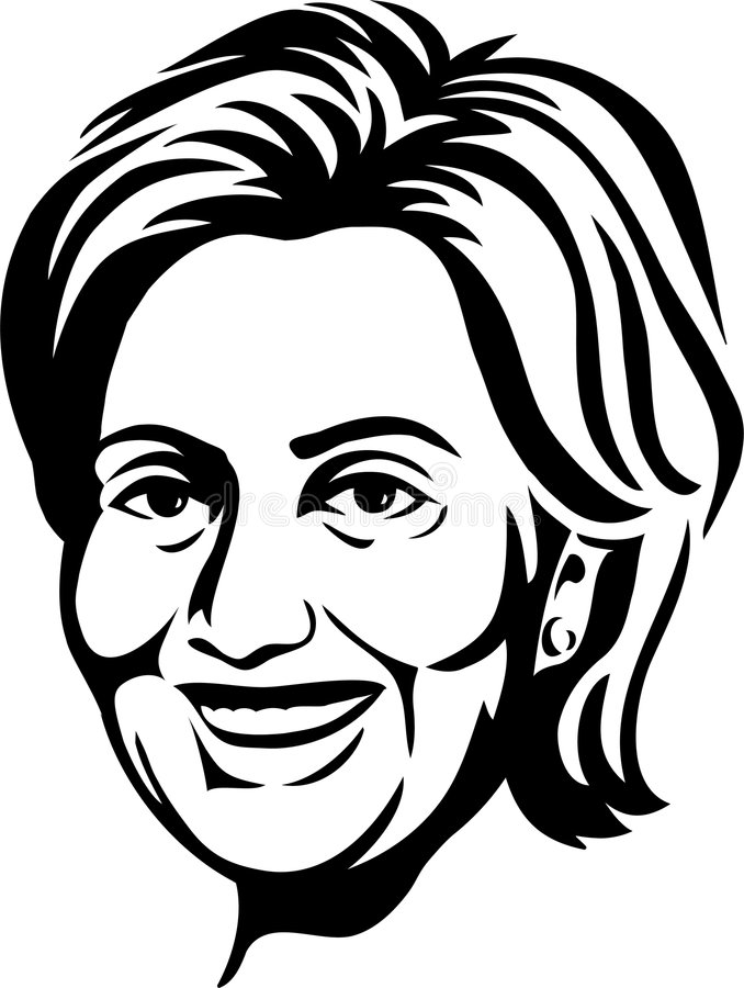 Hillary Clinton/eps. Black and white illustration of democratic presidential contender and former first lady, Senator Hillary Clinton