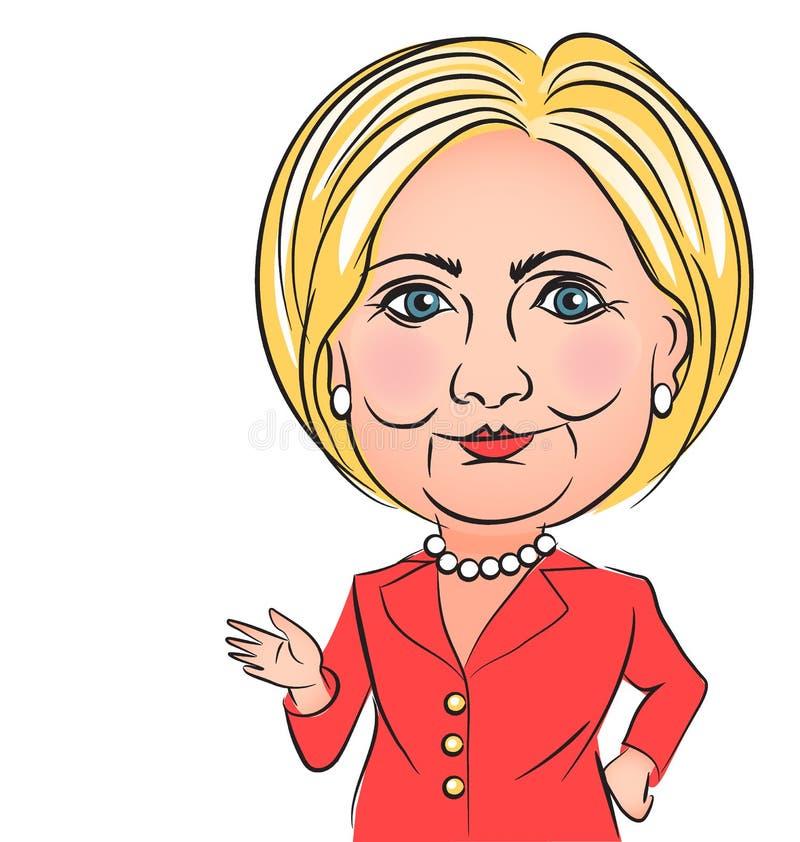 Hillary Clinton karykatura royalty ilustracja