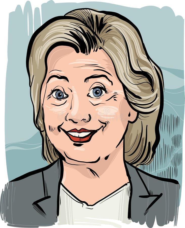 Hillary Clinton karykatury portret royalty ilustracja