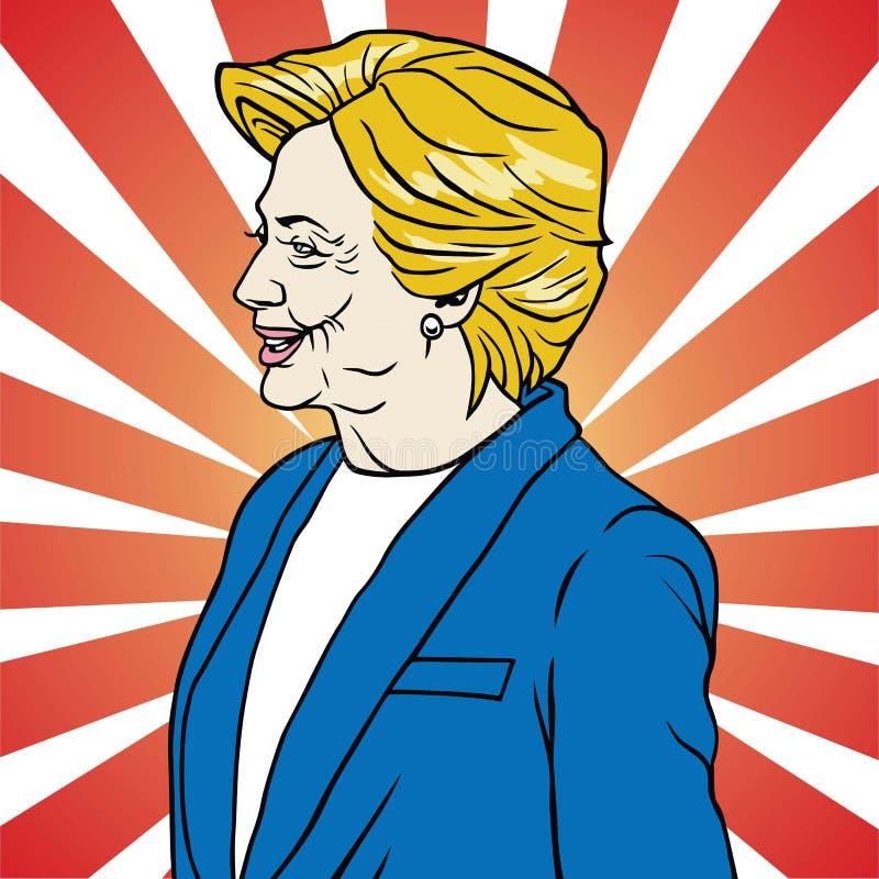 Hillary Clinton Pop Art Poster Vetora ilustração stock