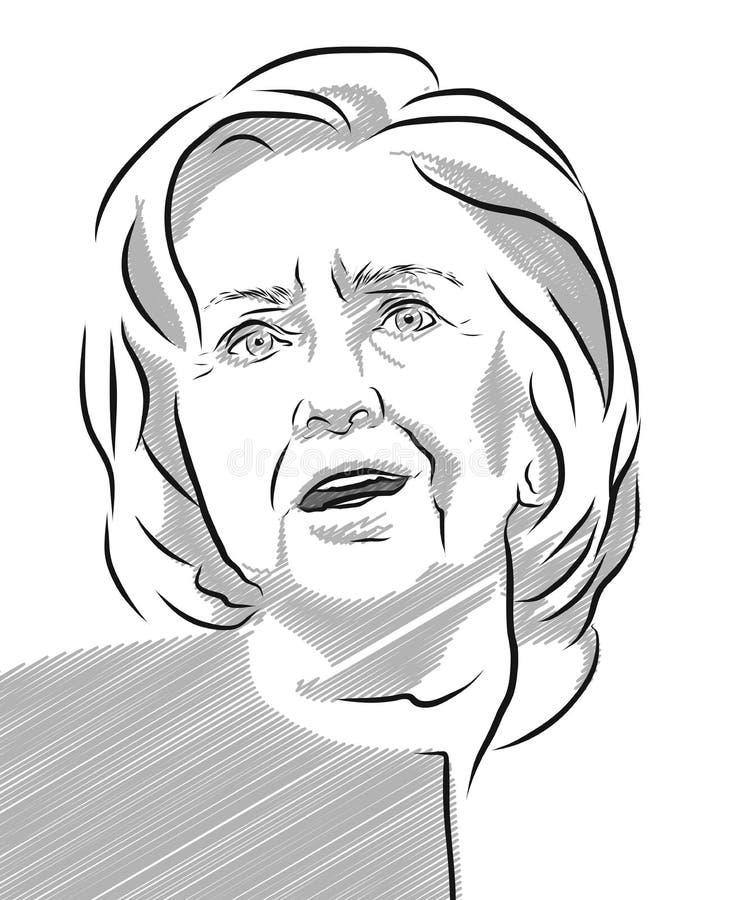 Hillary Clinton portreta konturu Wektorowa ilustracja ilustracja wektor