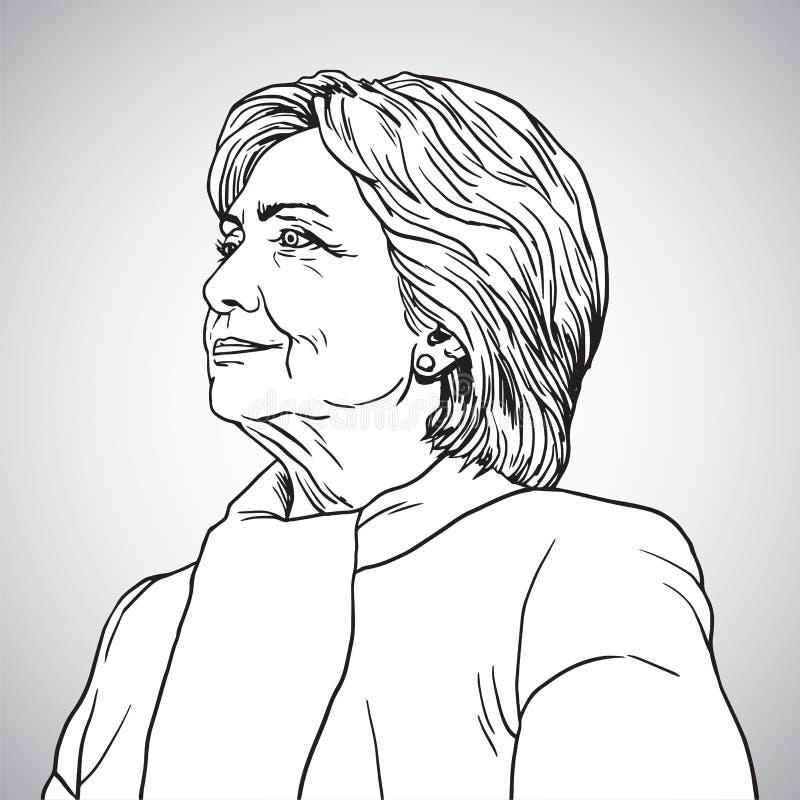 Hillary Clinton portreta rysunek również zwrócić corel ilustracji wektora Listopad 17, 2017 ilustracji