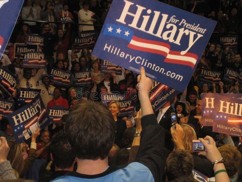 Hillary Clinton presidentkampanj samlar på Bowie State University 2008 arkivbild