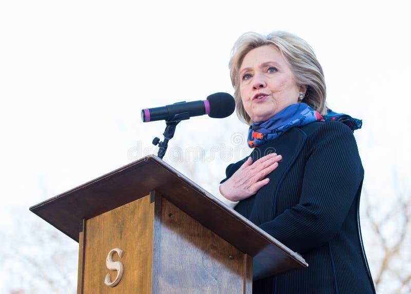 Hillary Clinton - rassemblement de MLKDAY images libres de droits